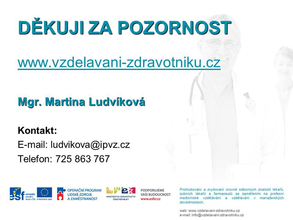 DĚKUJI ZA POZORNOST www.vzdelavani-zdravotniku.cz Mgr. Martina Ludvíková Kontakt: E-mail: ludvikova@ipvz.cz Telefon: 725 863 767