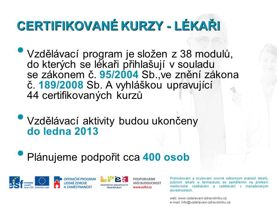 CERTIFIKOVANÉ KURZY - LÉKAŘI Vzdělávací program je složen z 38 modulů, do kterých se lékaři přihlašují v souladu se zákonem č. 95/2004 Sb.,ve znění zá