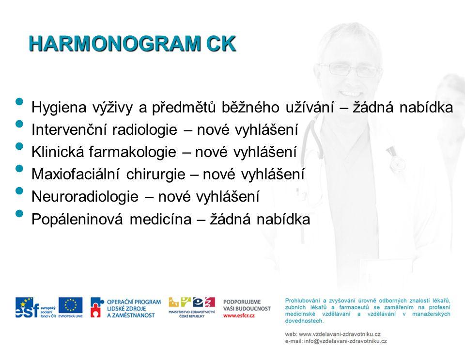 Hygiena výživy a předmětů běžného užívání – žádná nabídka Intervenční radiologie – nové vyhlášení Klinická farmakologie – nové vyhlášení Maxiofaciální