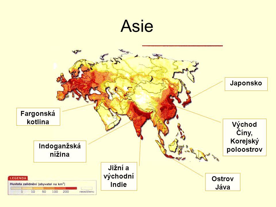 Asie Japonsko Východ Číny, Korejský poloostrov Ostrov Jáva Indoganžská nížina Jižní a východní Indie Fargonská kotlina