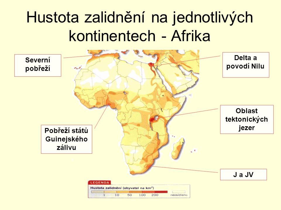 Hustota zalidnění na jednotlivých kontinentech - Afrika Delta a povodí Nilu Oblast tektonických jezer J a JV Pobřeží států Guinejského zálivu Severní
