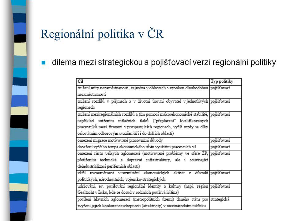 Regionální politika v ČR dilema mezi strategickou a pojišťovací verzí regionální politiky