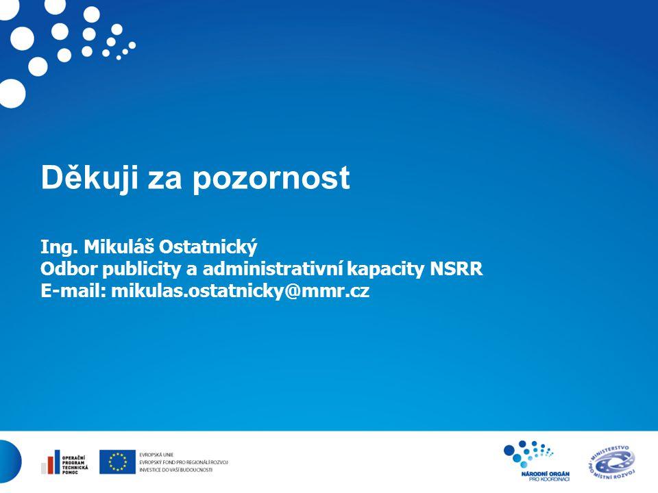 11 Děkuji za pozornost Ing. Mikuláš Ostatnický Odbor publicity a administrativní kapacity NSRR E-mail: mikulas.ostatnicky@mmr.cz