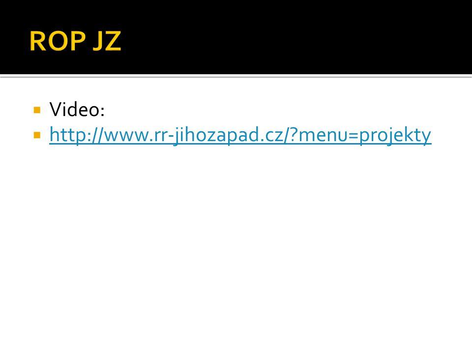  Video:  http://www.rr-jihozapad.cz/?menu=projekty http://www.rr-jihozapad.cz/?menu=projekty