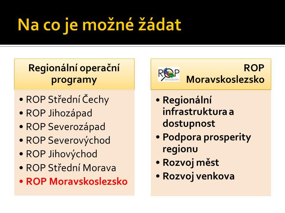 Regionální operační programy ROP Střední Čechy ROP Jihozápad ROP Severozápad ROP Severovýchod ROP Jihovýchod ROP Střední Morava ROP Moravskoslezsko Re