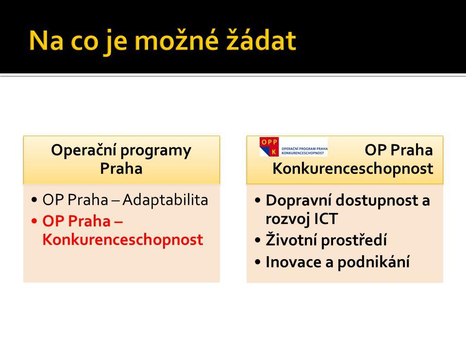 Operační programy Praha OP Praha – Adaptabilita OP Praha – Konkurenceschopnost OP Praha Konkurenceschopnost Dopravní dostupnost a rozvoj ICT Životní p
