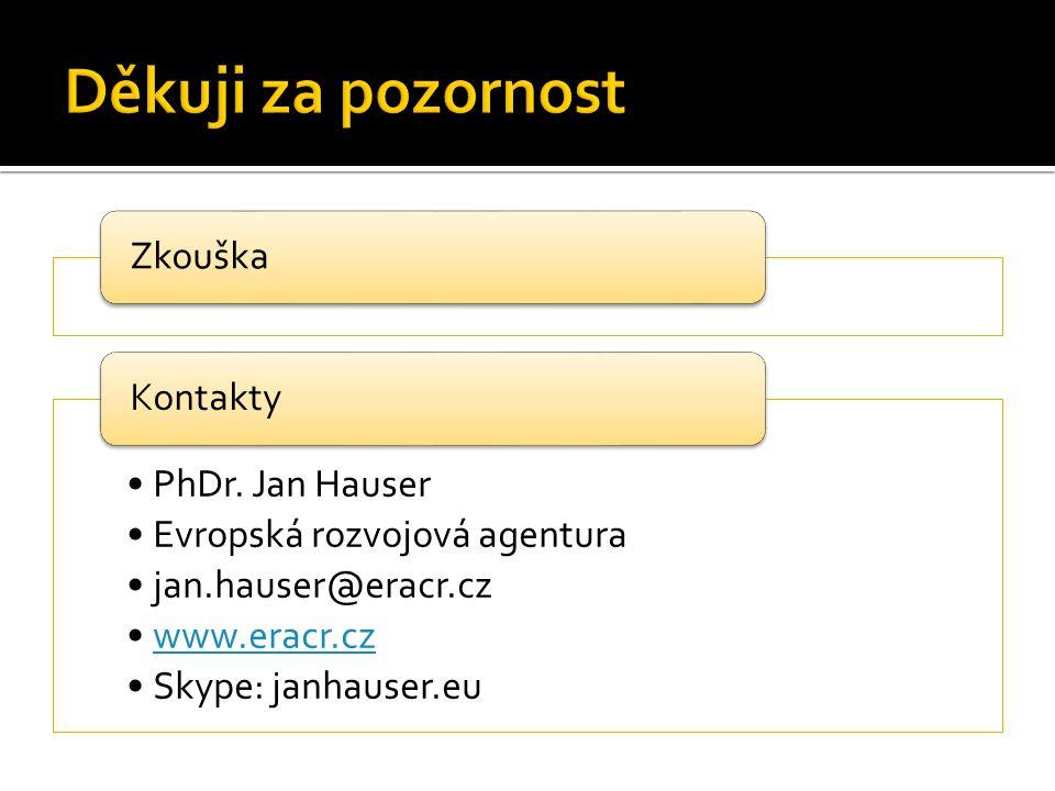 Zkouška PhDr. Jan Hauser Evropská rozvojová agentura jan.hauser@eracr.cz www.eracr.cz Skype: janhauser.eu Kontakty