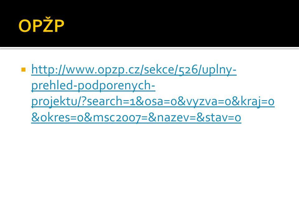 http://www.opzp.cz/sekce/526/uplny- prehled-podporenych- projektu/?search=1&osa=0&vyzva=0&kraj=0 &okres=0&msc2007=&nazev=&stav=0 http://www.opzp.cz/