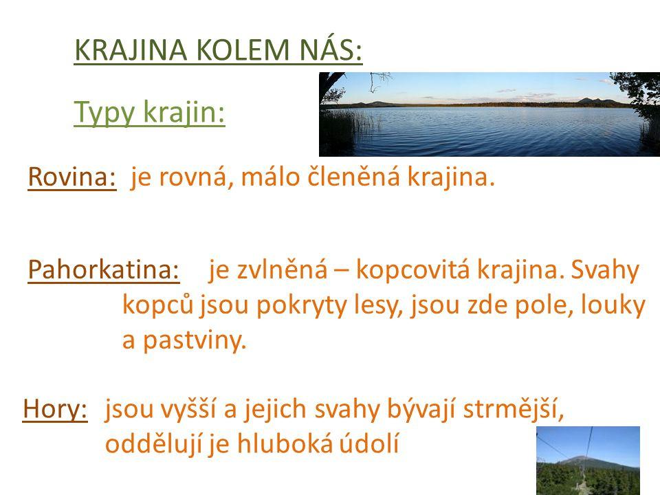 KRAJINA KOLEM NÁS: Typy krajin: Rovina: Pahorkatina: Hory: je rovná, málo členěná krajina.
