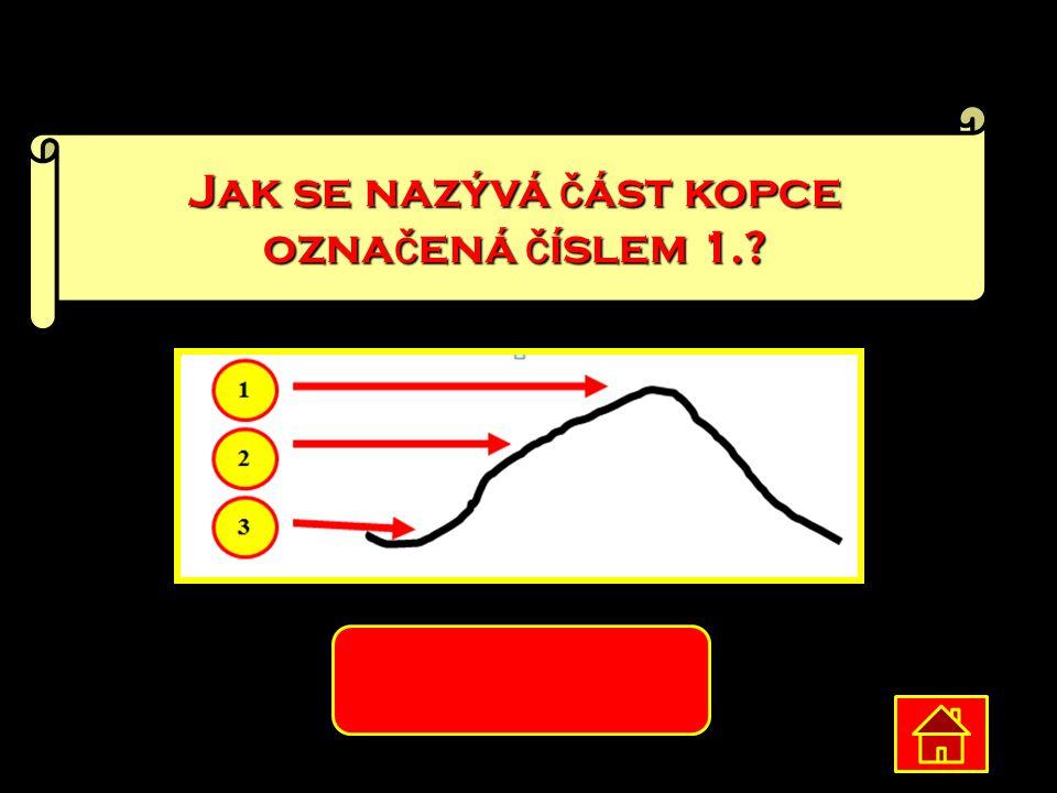 Jak se nazývá č ást kopce ozna č ená č íslem 1.? vrchol