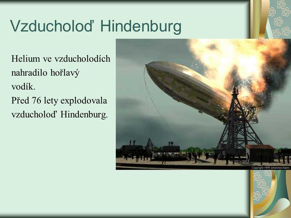 Vzducholoď Hindenburg Helium ve vzducholodích nahradilo hořlavý vodík.