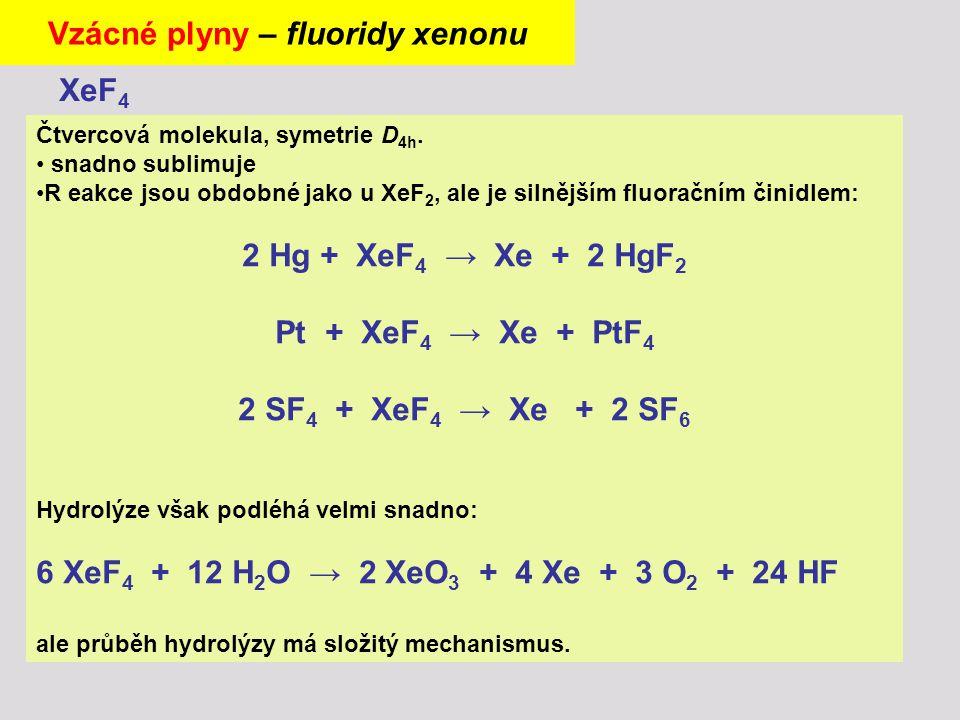 Čtvercová molekula, symetrie D 4h. snadno sublimuje R eakce jsou obdobné jako u XeF 2, ale je silnějším fluoračním činidlem: 2 Hg + XeF 4 → Xe + 2 HgF