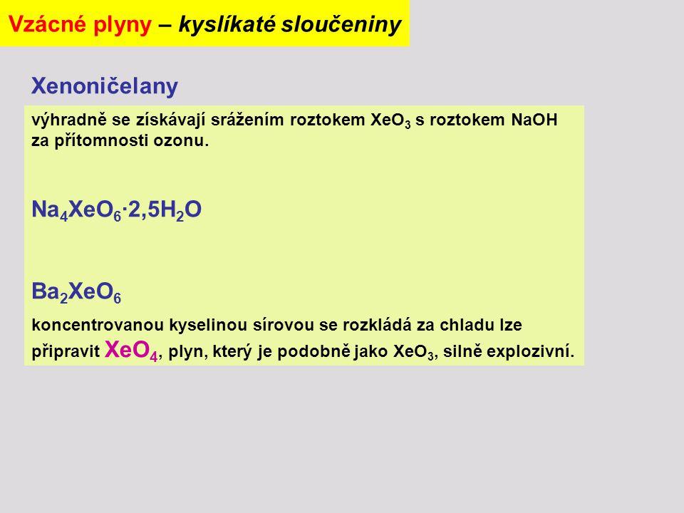 výhradně se získávají srážením roztokem XeO 3 s roztokem NaOH za přítomnosti ozonu. Na 4 XeO 6 ∙2,5H 2 O Ba 2 XeO 6 koncentrovanou kyselinou sírovou s