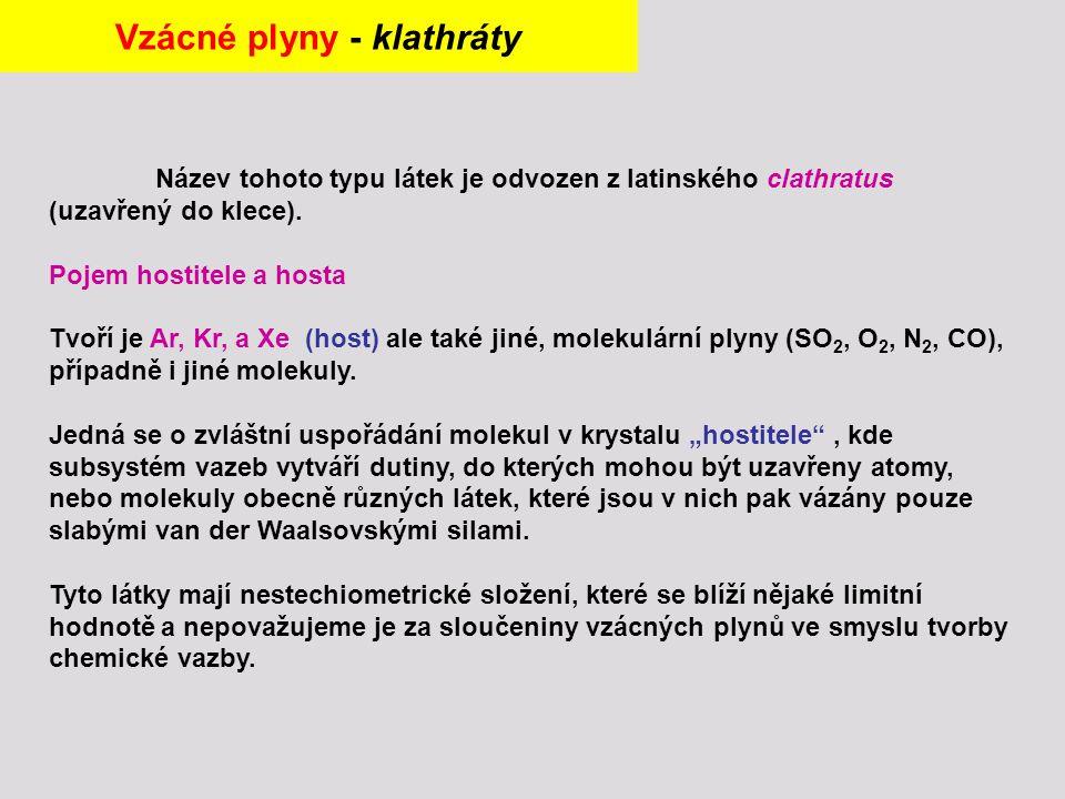 Název tohoto typu látek je odvozen z latinského clathratus (uzavřený do klece).