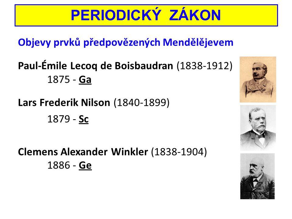 Objevy prvků předpovězených Mendělějevem Paul-Émile Lecoq de Boisbaudran (1838-1912) 1875 - Ga Lars Frederik Nilson (1840-1899) 1879 - Sc Clemens Alex