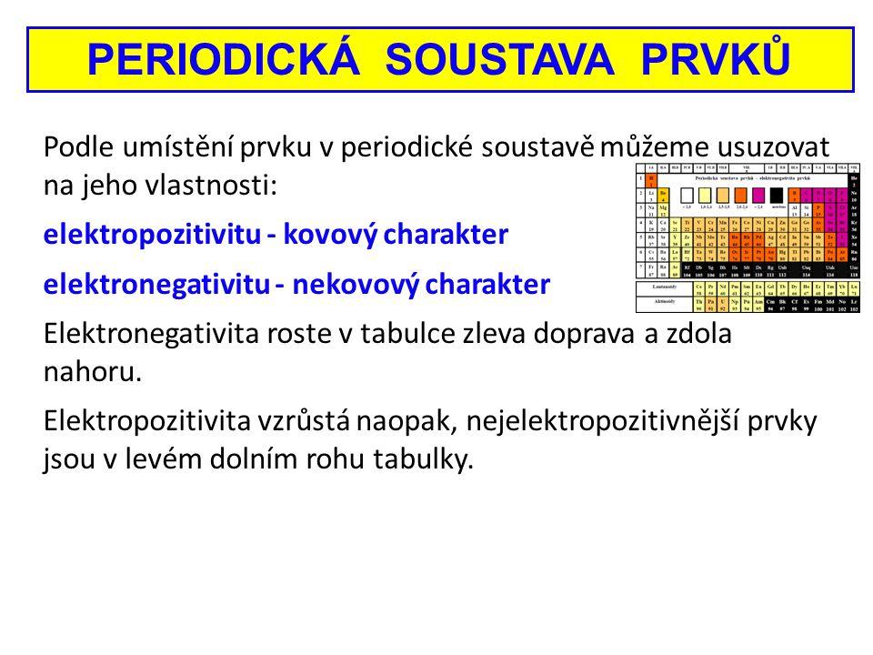 Podle umístění prvku v periodické soustavě můžeme usuzovat na jeho vlastnosti: elektropozitivitu - kovový charakter elektronegativitu - nekovový chara
