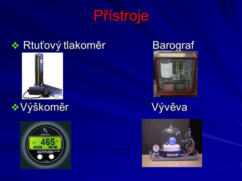 Přístroje  Rtuťový tlakoměr Barograf  Výškoměr Vývěva