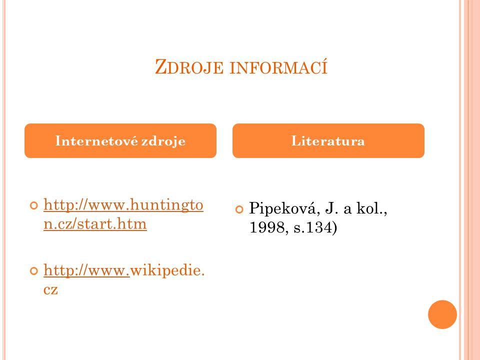 Z DROJE INFORMACÍ http://www.huntingto n.cz/start.htm http://www.http://www.wikipedie.