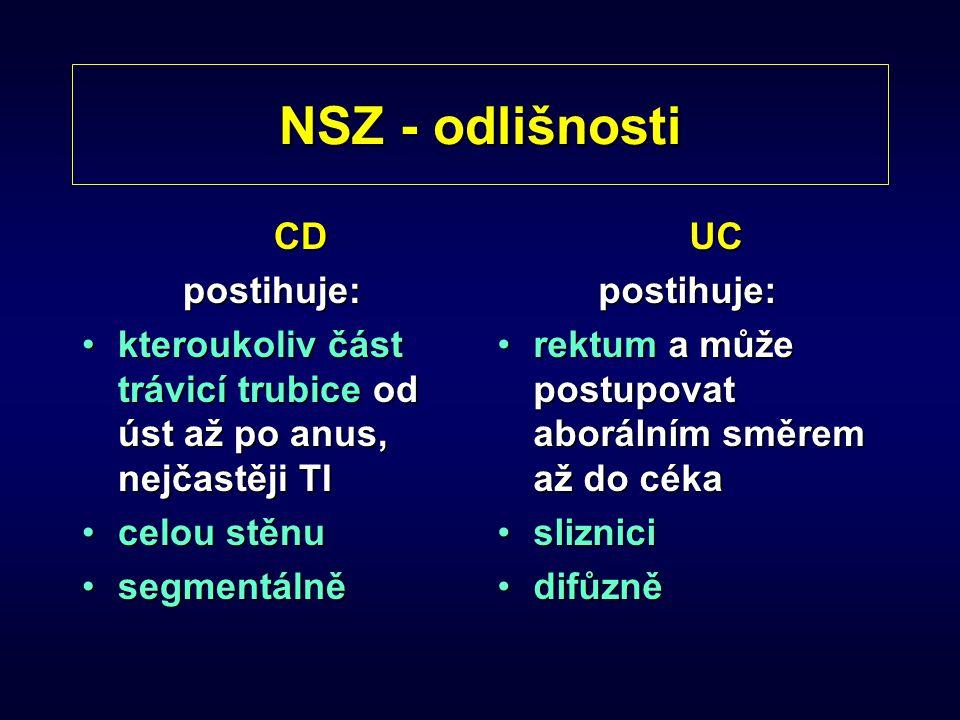 NSZ - odlišnosti CDpostihuje: kteroukoliv část trávicí trubice od úst až po anus, nejčastěji TIkteroukoliv část trávicí trubice od úst až po anus, nej