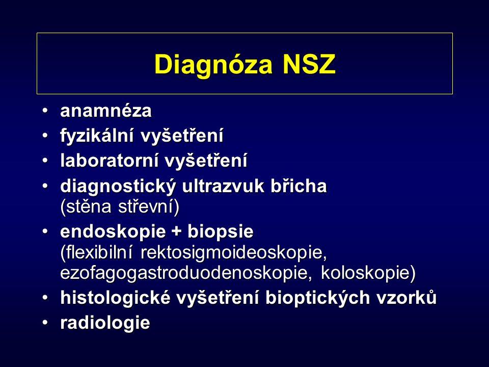 Diagnóza NSZ anamnézaanamnéza fyzikální vyšetřenífyzikální vyšetření laboratorní vyšetřenílaboratorní vyšetření diagnostický ultrazvuk břicha (stěna s