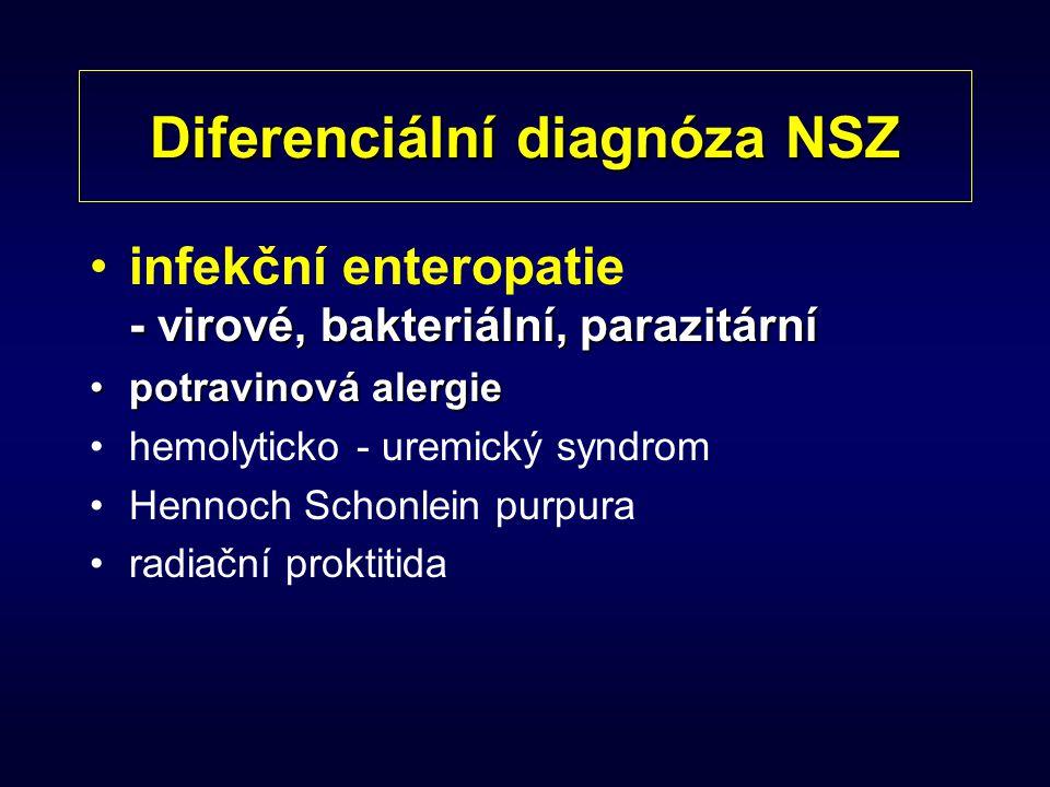 Diferenciální diagnóza NSZ - virové, bakteriální, parazitárníinfekční enteropatie - virové, bakteriální, parazitární potravinová alergiepotravinová al