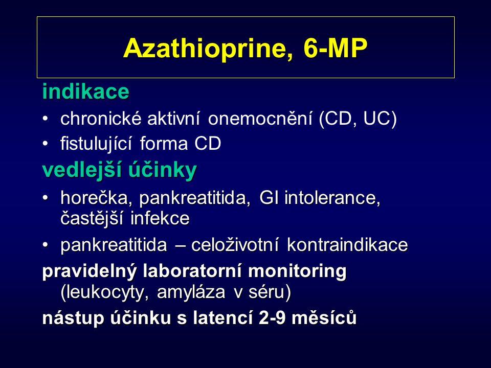 Azathioprine, 6-MP indikace chronické aktivní onemocnění (CD, UC) fistulující forma CD vedlejší účinky horečka, pankreatitida, GI intolerance, častějš
