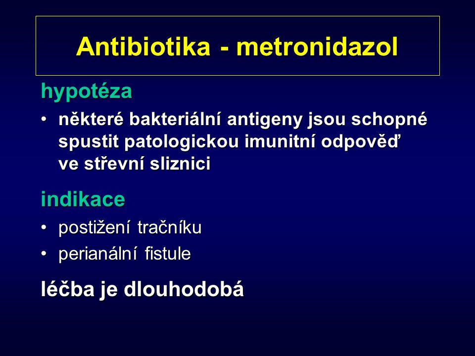 Antibiotika - metronidazol hypotéza některé bakteriální antigeny jsou schopné spustit patologickou imunitní odpověď ve střevní slizniciněkteré bakteri