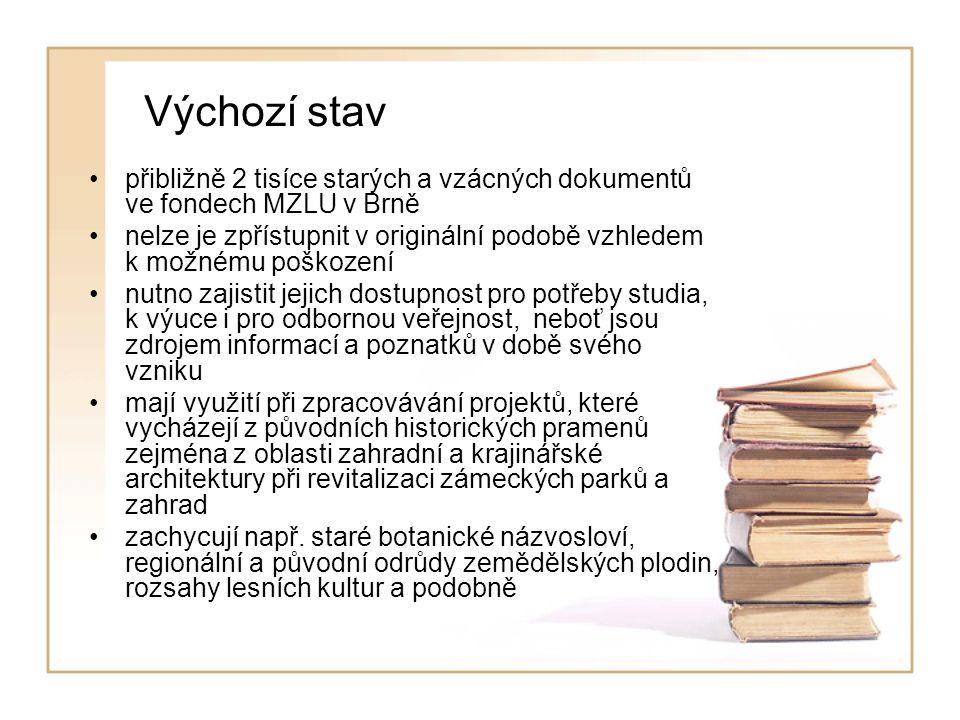 Výchozí stav přibližně 2 tisíce starých a vzácných dokumentů ve fondech MZLU v Brně nelze je zpřístupnit v originální podobě vzhledem k možnému poškození nutno zajistit jejich dostupnost pro potřeby studia, k výuce i pro odbornou veřejnost, neboť jsou zdrojem informací a poznatků v době svého vzniku mají využití při zpracovávání projektů, které vycházejí z původních historických pramenů zejména z oblasti zahradní a krajinářské architektury při revitalizaci zámeckých parků a zahrad zachycují např.