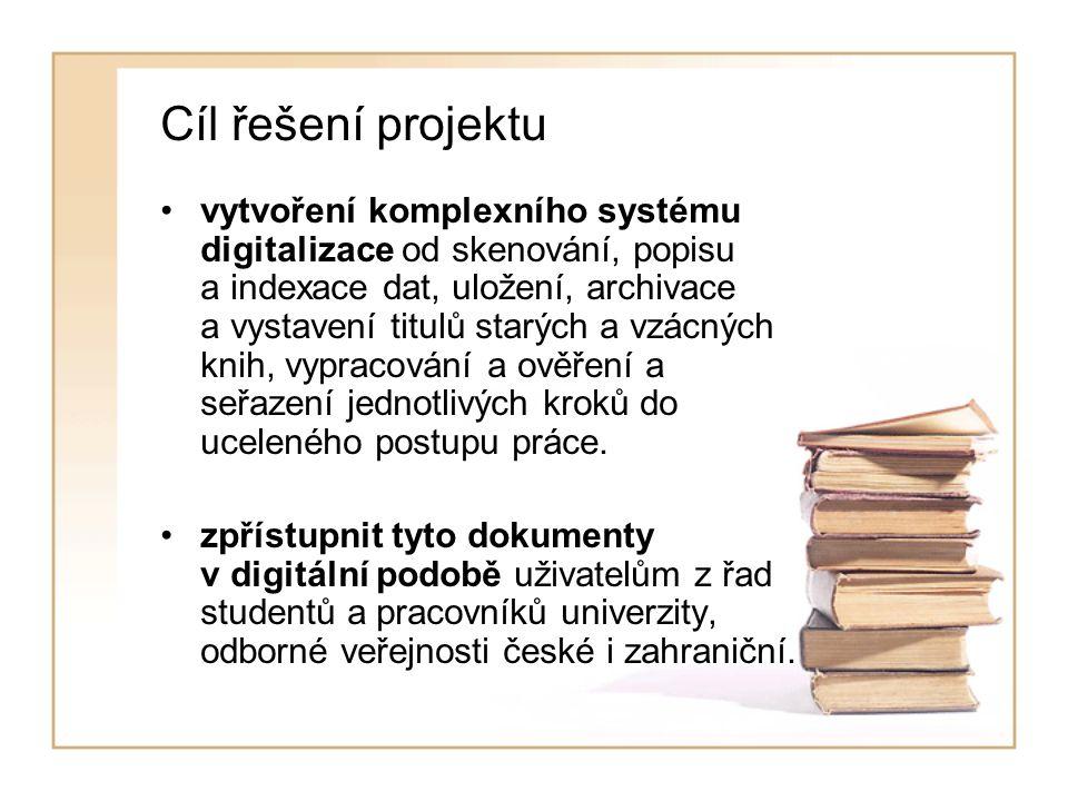 Cíl řešení projektu vytvoření komplexního systému digitalizace od skenování, popisu a indexace dat, uložení, archivace a vystavení titulů starých a vzácných knih, vypracování a ověření a seřazení jednotlivých kroků do uceleného postupu práce.