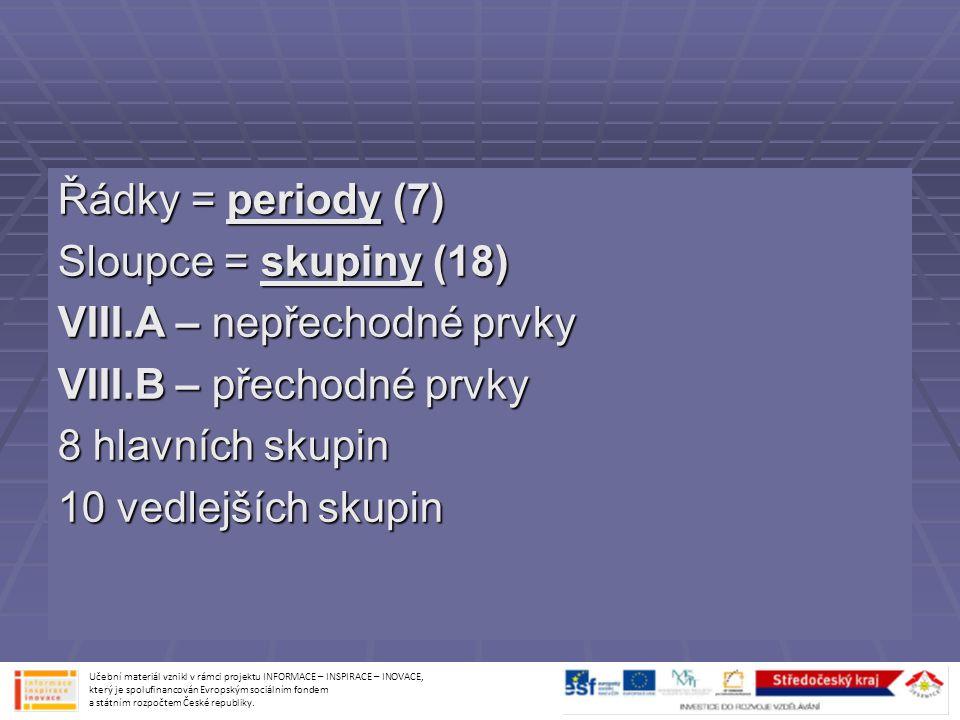 Řádky = periody (7) Sloupce = skupiny (18) VIII.A – nepřechodné prvky VIII.B – přechodné prvky 8 hlavních skupin 10 vedlejších skupin Učební materiál
