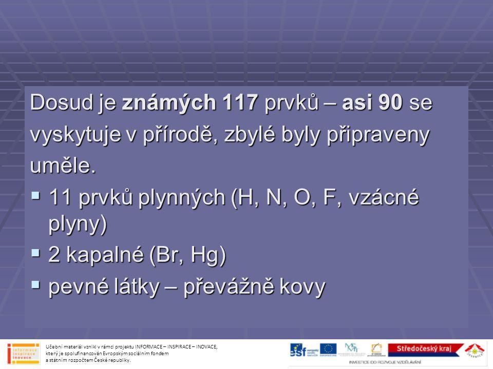 Dosud je známých 117 prvků – asi 90 se vyskytuje v přírodě, zbylé byly připraveny uměle.  11 prvků plynných (H, N, O, F, vzácné plyny)  2 kapalné (B