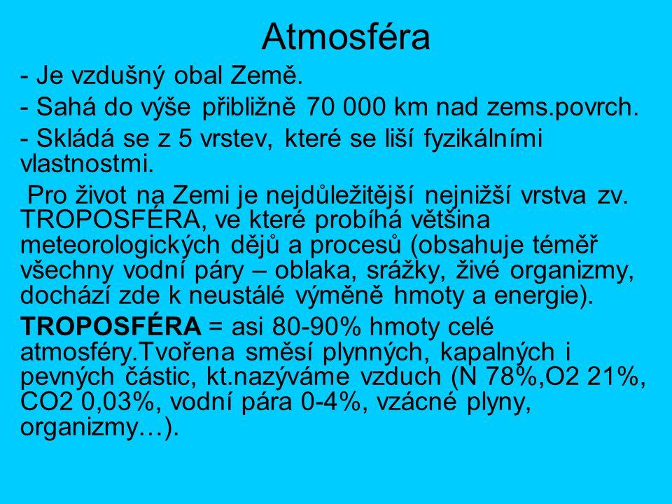 Atmosféra - Je vzdušný obal Země. - Sahá do výše přibližně 70 000 km nad zems.povrch. - Skládá se z 5 vrstev, které se liší fyzikálními vlastnostmi. P
