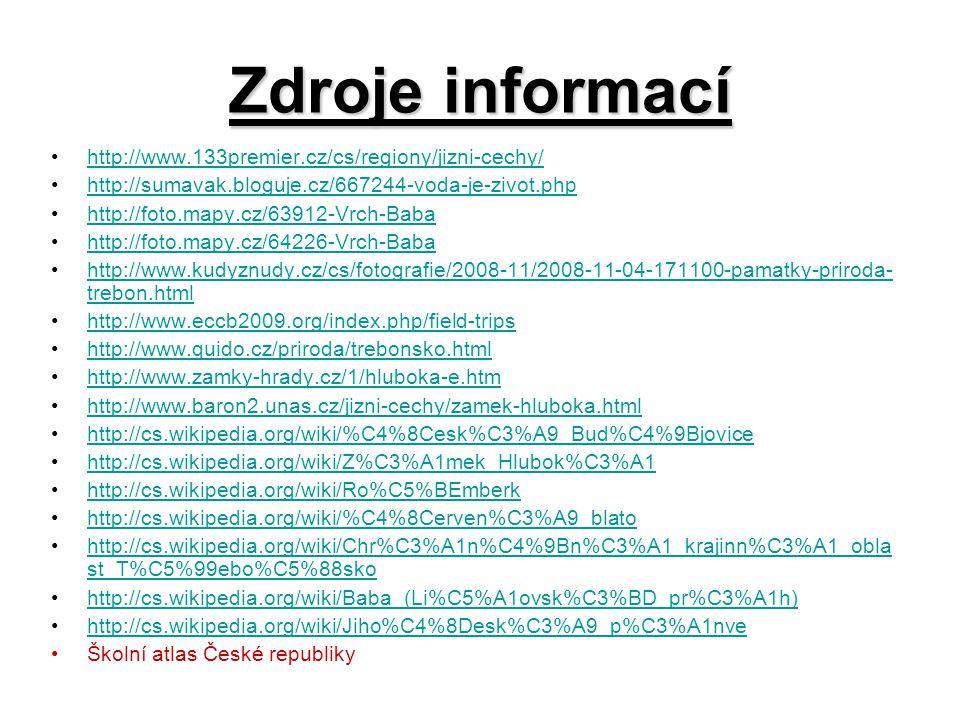 Zdroje informací http://www.133premier.cz/cs/regiony/jizni-cechy/ http://sumavak.bloguje.cz/667244-voda-je-zivot.php http://foto.mapy.cz/63912-Vrch-Ba