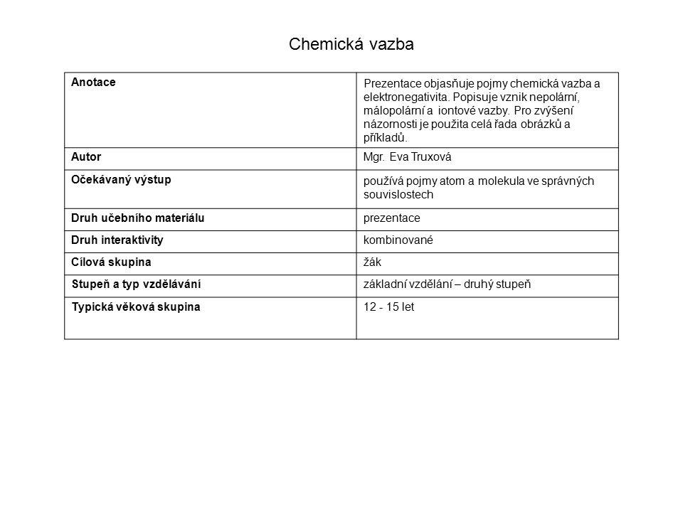 AnotacePrezentace objasňuje pojmy chemická vazba a elektronegativita.