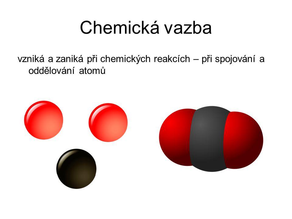vzniká a zaniká při chemických reakcích – při spojování a oddělování atomů