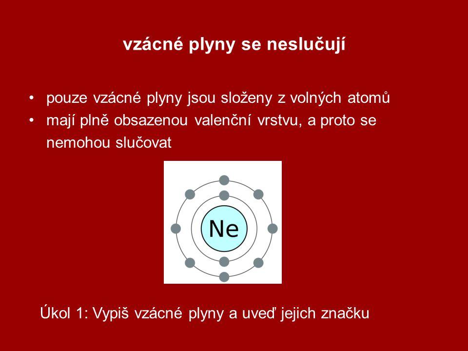 vzácné plyny se neslučují pouze vzácné plyny jsou složeny z volných atomů mají plně obsazenou valenční vrstvu, a proto se nemohou slučovat Úkol 1: Vypiš vzácné plyny a uveď jejich značku