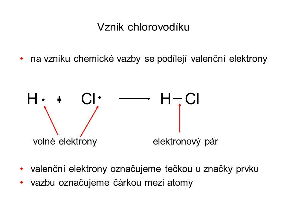 Vznik chlorovodíku na vzniku chemické vazby se podílejí valenční elektrony volné elektrony elektronový pár valenční elektrony označujeme tečkou u značky prvku vazbu označujeme čárkou mezi atomy HClH Cl