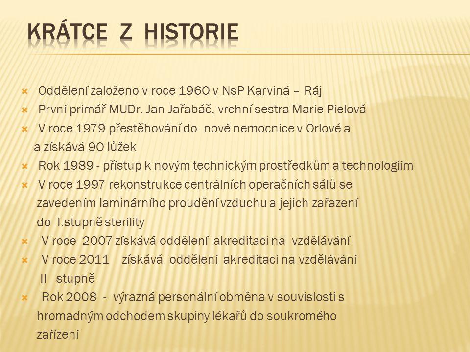  Oddělení založeno v roce 196O v NsP Karviná – Ráj  První primář MUDr. Jan Jařabáč, vrchní sestra Marie Pielová  V roce 1979 přestěhování do nové n