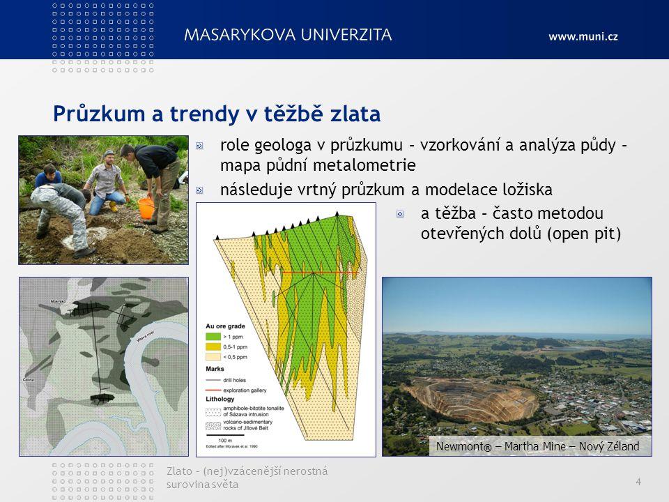 Průzkum a trendy v těžbě zlata 4 role geologa v průzkumu – vzorkování a analýza půdy – mapa půdní metalometrie následuje vrtný průzkum a modelace ložiska a těžba – často metodou otevřených dolů (open pit) Newmont ® – Martha Mine – Nový Zéland Zlato – (nej)vzácenější nerostná surovina světa