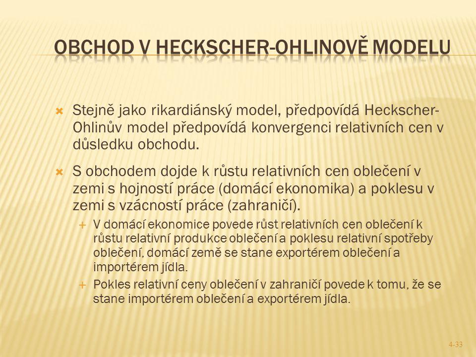  Stejně jako rikardiánský model, předpovídá Heckscher- Ohlinův model předpovídá konvergenci relativních cen v důsledku obchodu.  S obchodem dojde k