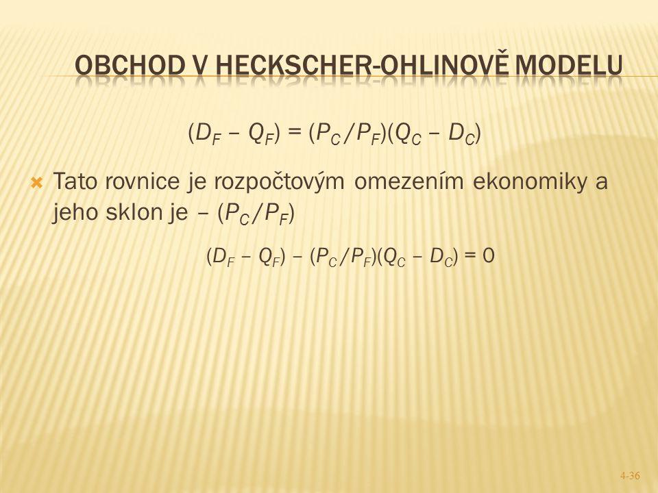 (D F – Q F ) = (P C /P F )(Q C – D C )  Tato rovnice je rozpočtovým omezením ekonomiky a jeho sklon je – (P C /P F ) (D F – Q F ) – (P C /P F )(Q C –