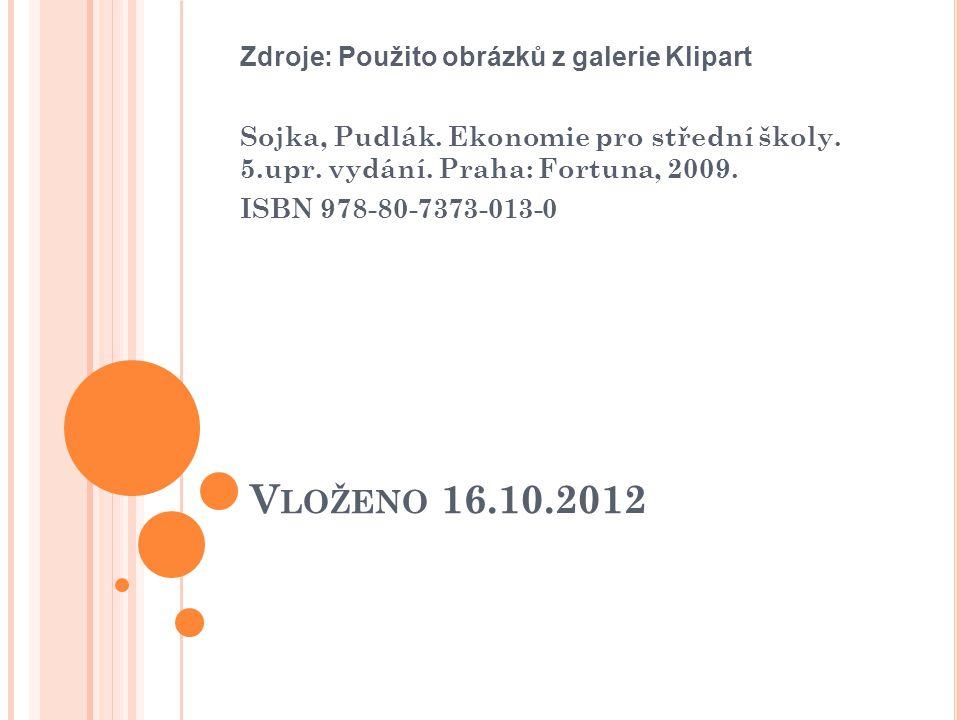 V LOŽENO 16.10.2012 Zdroje: Použito obrázků z galerie Klipart Sojka, Pudlák. Ekonomie pro střední školy. 5.upr. vydání. Praha: Fortuna, 2009. ISBN 978