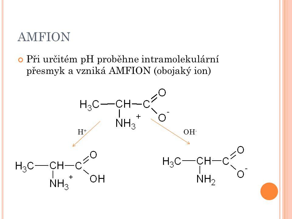 AMFION Při určitém pH proběhne intramolekulární přesmyk a vzniká AMFION (obojaký ion) H+H+ OH -
