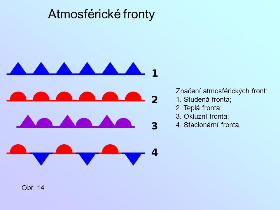 Značení atmosférických front: 1. Studená fronta; 2. Teplá fronta; 3. Okluzní fronta; 4. Stacionární fronta. Obr. 14 Atmosférické fronty