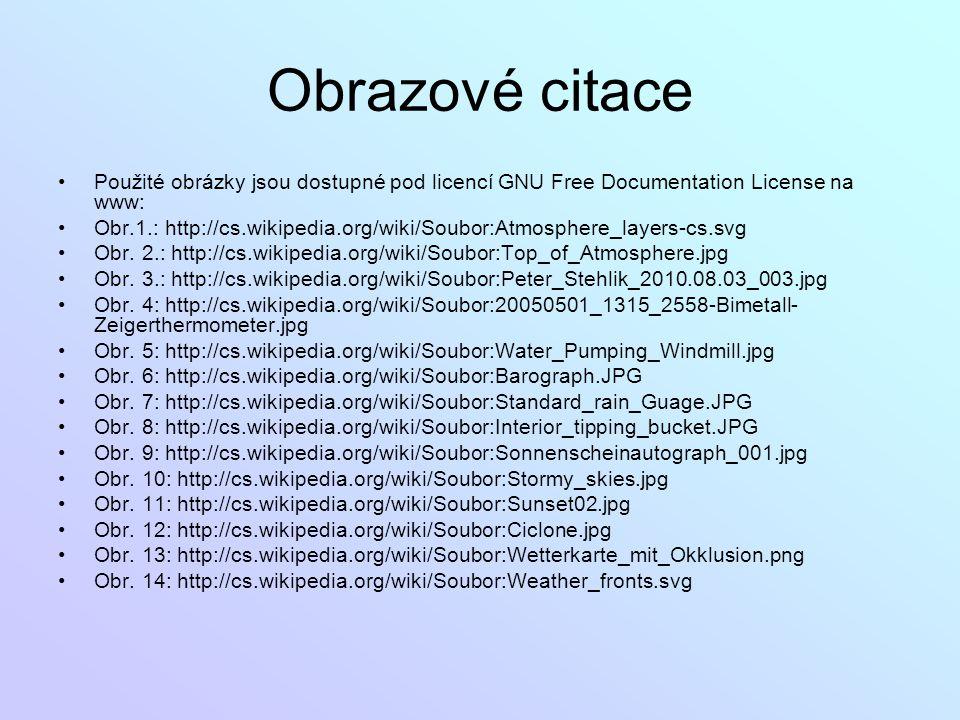 Obrazové citace Použité obrázky jsou dostupné pod licencí GNU Free Documentation License na www: Obr.1.: http://cs.wikipedia.org/wiki/Soubor:Atmospher