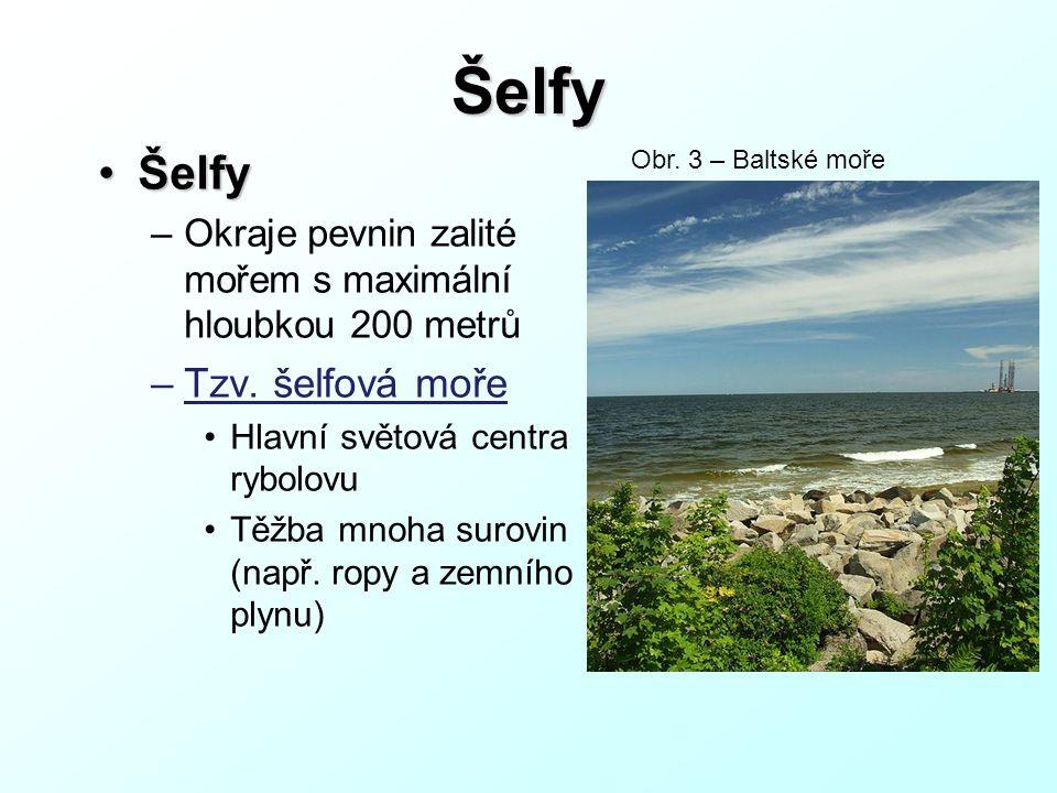 Šelfy ŠelfyŠelfy –Okraje pevnin zalité mořem s maximální hloubkou 200 metrů –Tzv.