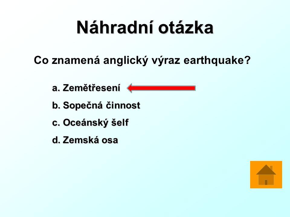 Náhradní otázka Co znamená anglický výraz earthquake.