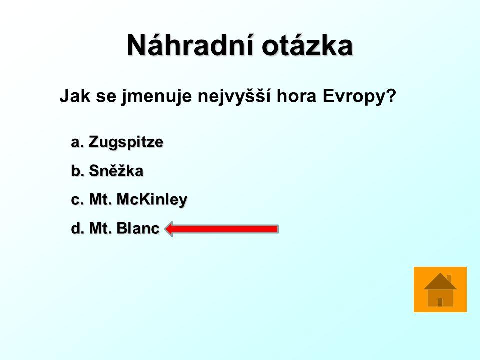 Náhradní otázka Jak se jmenuje nejvyšší hora Evropy.
