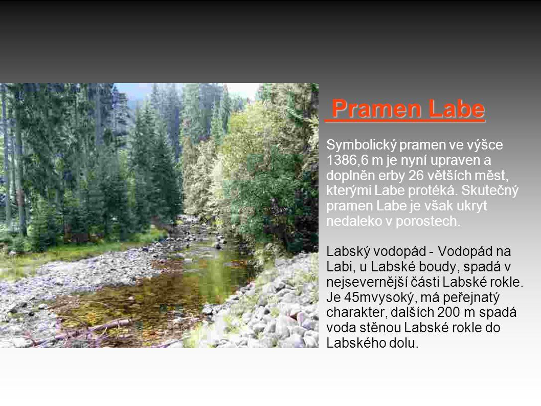 Pramen Labe Pramen Labe Symbolický pramen ve výšce 1386,6 m je nyní upraven a doplněn erby 26 větších měst, kterými Labe protéká. Skutečný pramen Labe