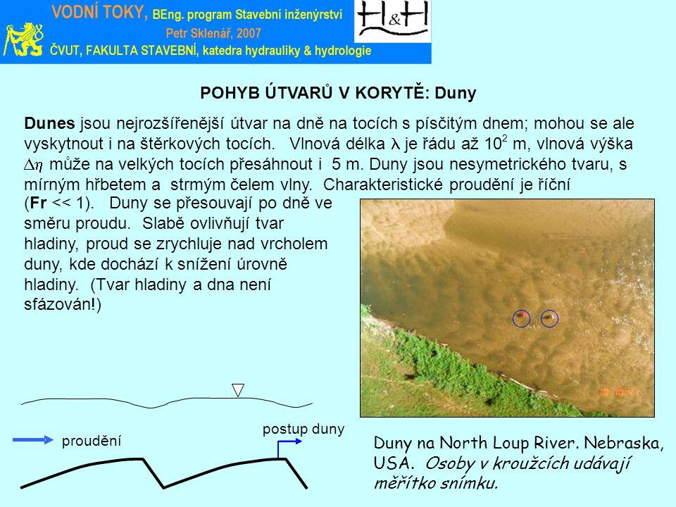 POHYB ÚTVARŮ V KORYTĚ: Duny Duny na North Loup River. Nebraska, USA. Osoby v kroužcích udávají měřítko snímku. Dunes jsou nejrozšířenější útvar na dně